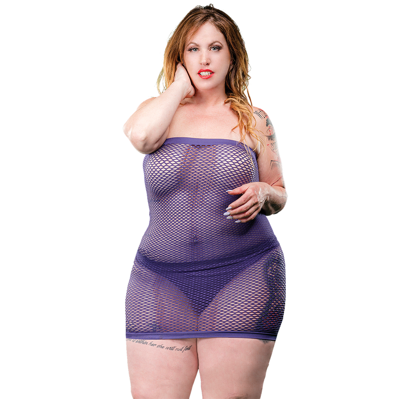 Naughty Girl Mesh Tube Dress Violet Curvy size from Beverly Hills lingerie