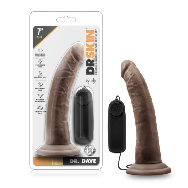Dr. Skin Dr. Dave 7 Inches Vibrating Cock with Suction Cup Brown Chocolate