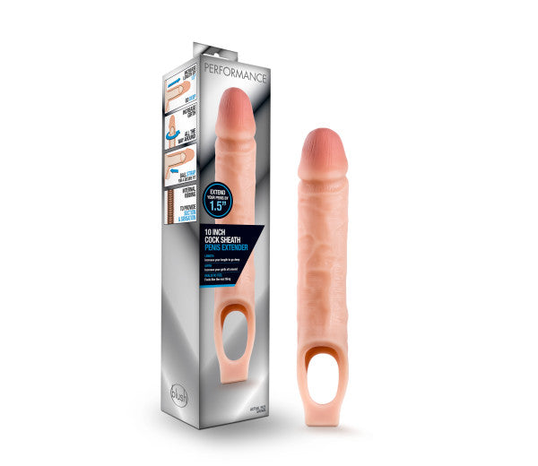 Performance 10 inches Cock Sheath Penis Extender Vanilla Beige from Blush Novelties