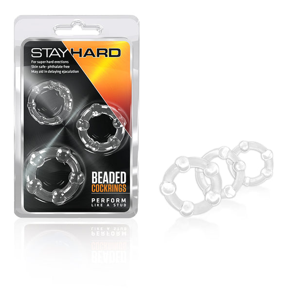 Stay Hard Cock Beaded Cock Rings 3 Pc Clear