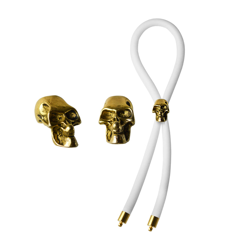 C-RING LASSO GOLD SKULL BEAD SILICONE WHITE