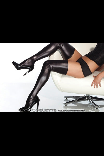 Wet Look Thigh High Stockings Black Os/XL