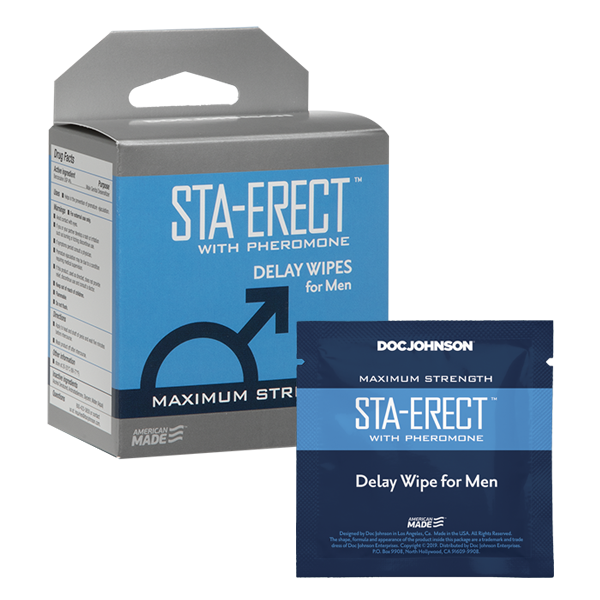 Sta-Erect with Pheromone Delay Wipes for Men 10 Pack