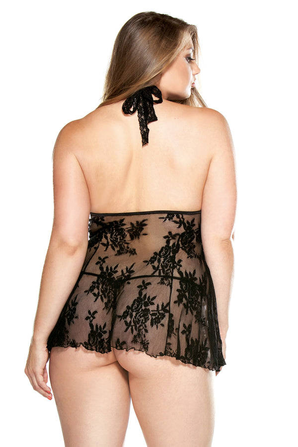 Fantasy Lingerie Curve Line Lace Chemise and G-String set 1X2X