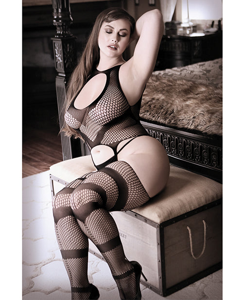 Keyhole Front Net Bodystockings Black Queen Size