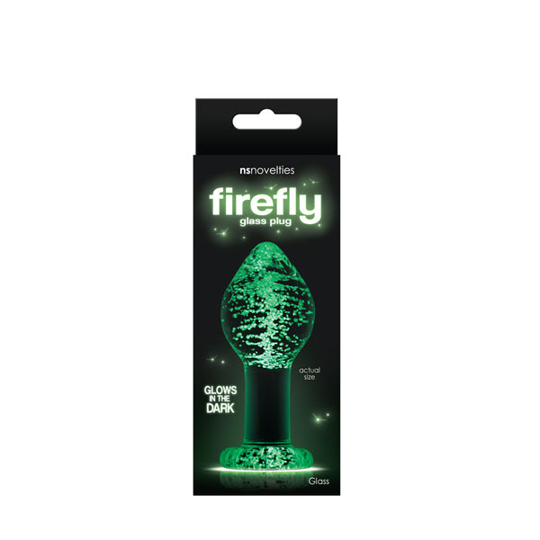 Firefly Glass Plug Large Clear Glows In The Dark