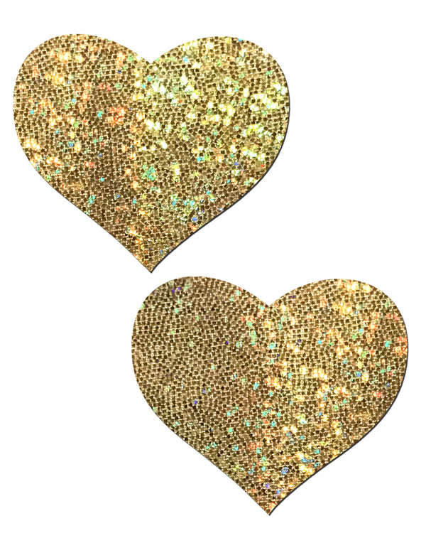 Love Gold Glitter Heart Nipple Pasties by Pastease