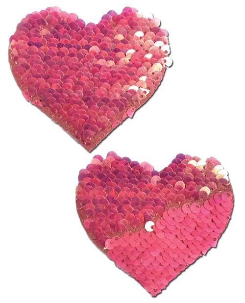 Pastease Hot Pink and Matte Pink Color Changing Sequin Hearts Nipple Pasties