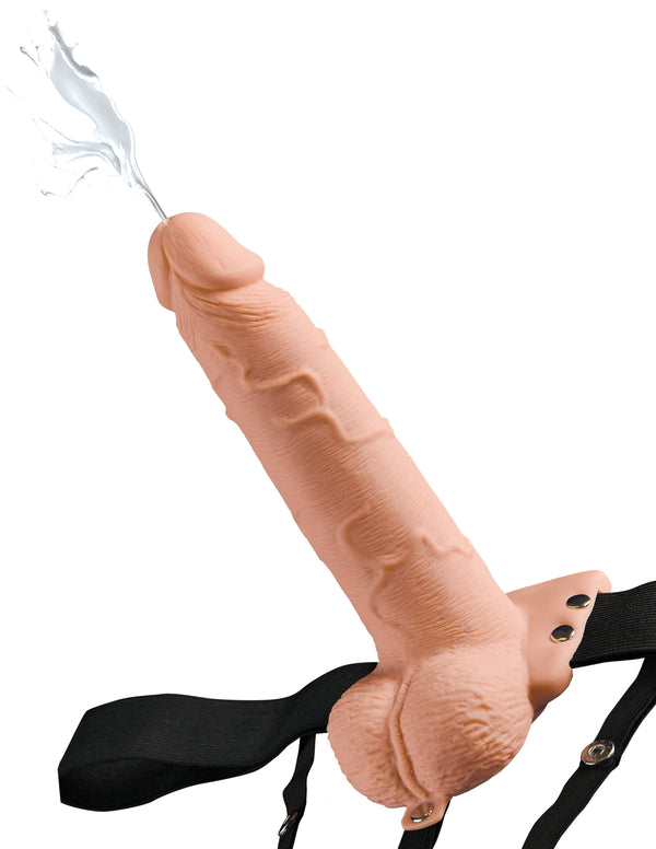 "Fetish Fantasy 7.5"" Hollow Squirting Strap On with Balls Beige"