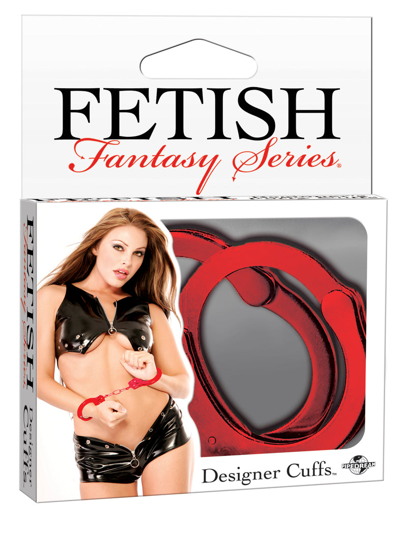 FETISH FANTASY DESIGNER RED METAL HANDCUFFS
