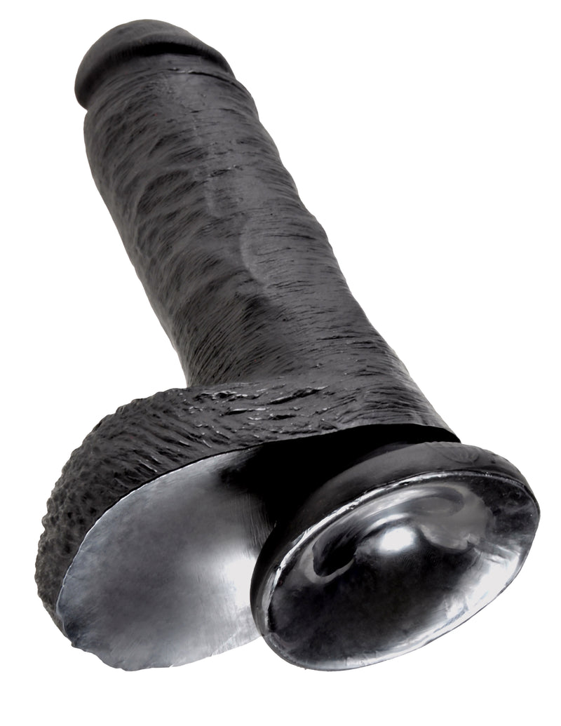 King Cock 8 inches with Balls Black Dildo Real Deal RD