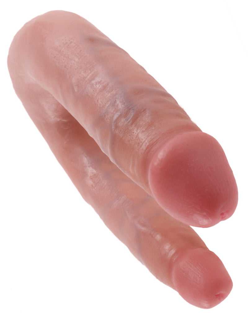 King Cock U Shaped Double Trouble Small Flesh Beige Dildo Real Deal RD