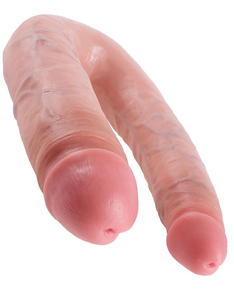 King Cock U-Shaped Large Double Trouble Flesh Beige Dildo Real Deal RD