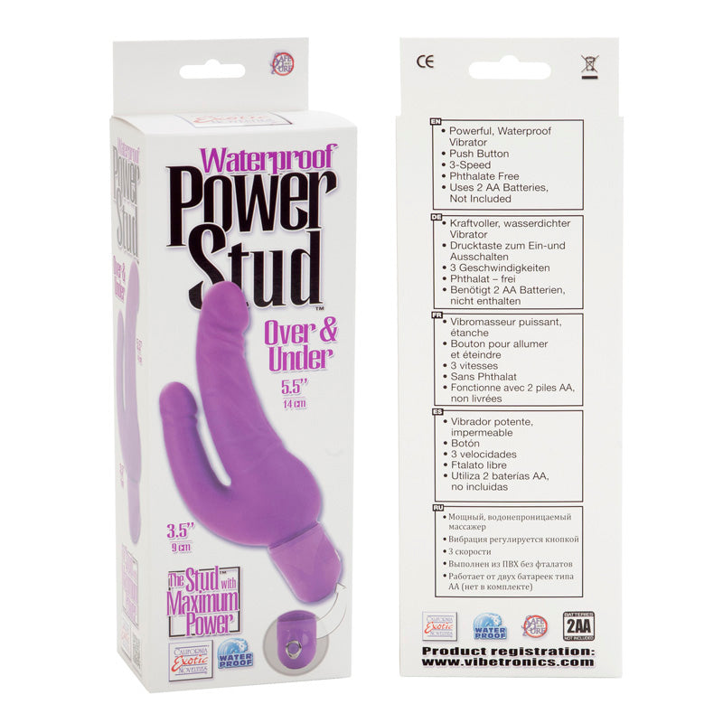 Waterproof Power Stud Over and Under Dong Purple Vibrator