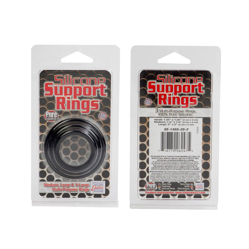 Silicone Support Rings Black 3 Piece Set