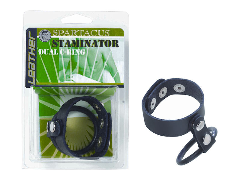 Staminator Leather & Rubber Dual Cock Ring