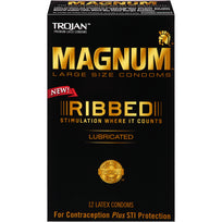 Trojan Brand Condoms Magnum Ribbed 12 pack
