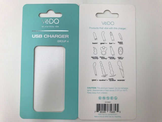 Vedo USB Charger A for Bam, Gee Plus, Luvplus, Bam Mini, Spunk, Frisky, Crazzy, Overdrive