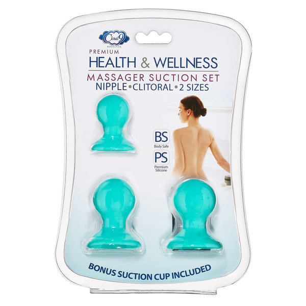 Cloud 9 Health and Wellness Nipple & Clitoral Massager Suction Set Teal