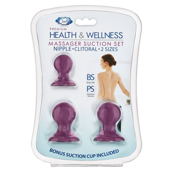 Cloud 9 Health and Wellness Nipple & Clitoral Massager Suction Set Plum