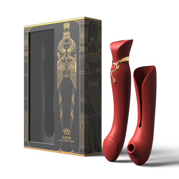 ZALO Queen G-spot PulseWave 17-function App-controlled Rechargeable Silicone Vibrator with Suction Sleeve Wine Red