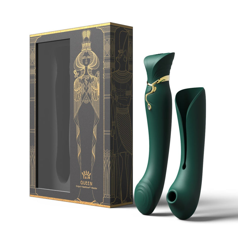 ZALO Queen Set G-spot PulseWave 17-function App-controlled Rechargeable Silicone Vibrator with Suction Sleeve Jewel Green