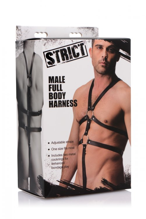 Strict Male Body Harness Black Leather