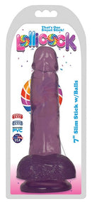 Lollicock 7 inches Slim Stick Grape Ice Purple Dildo with Balls