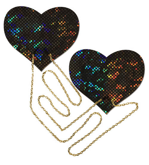 Black Shattered Disco Ball Heart with Gold Chains Pasties from Pastease