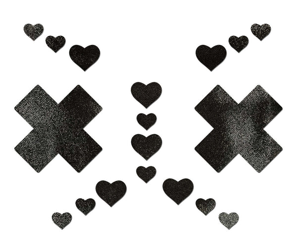 Pastease Set Liquid Black Plus X Cross with 6 Mini Hearts and 10 Baby Hearts