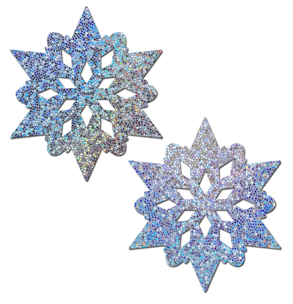 Silver Glitter Snowflakes Nipple Pasties by Pastease