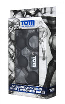 Tom Of Finland Silicone Cock Ring with 3 Weighted Balls Black