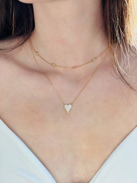 Pave heart sterling necklace