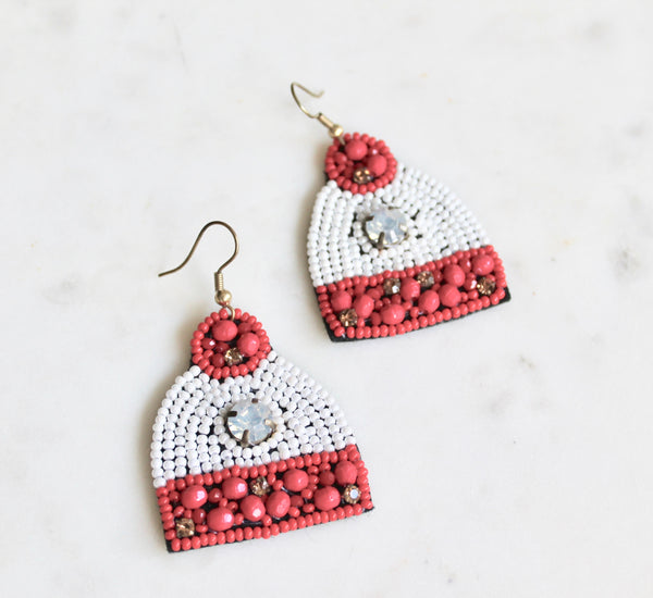 Christmas Pom Pom Hat Beaded Earrings