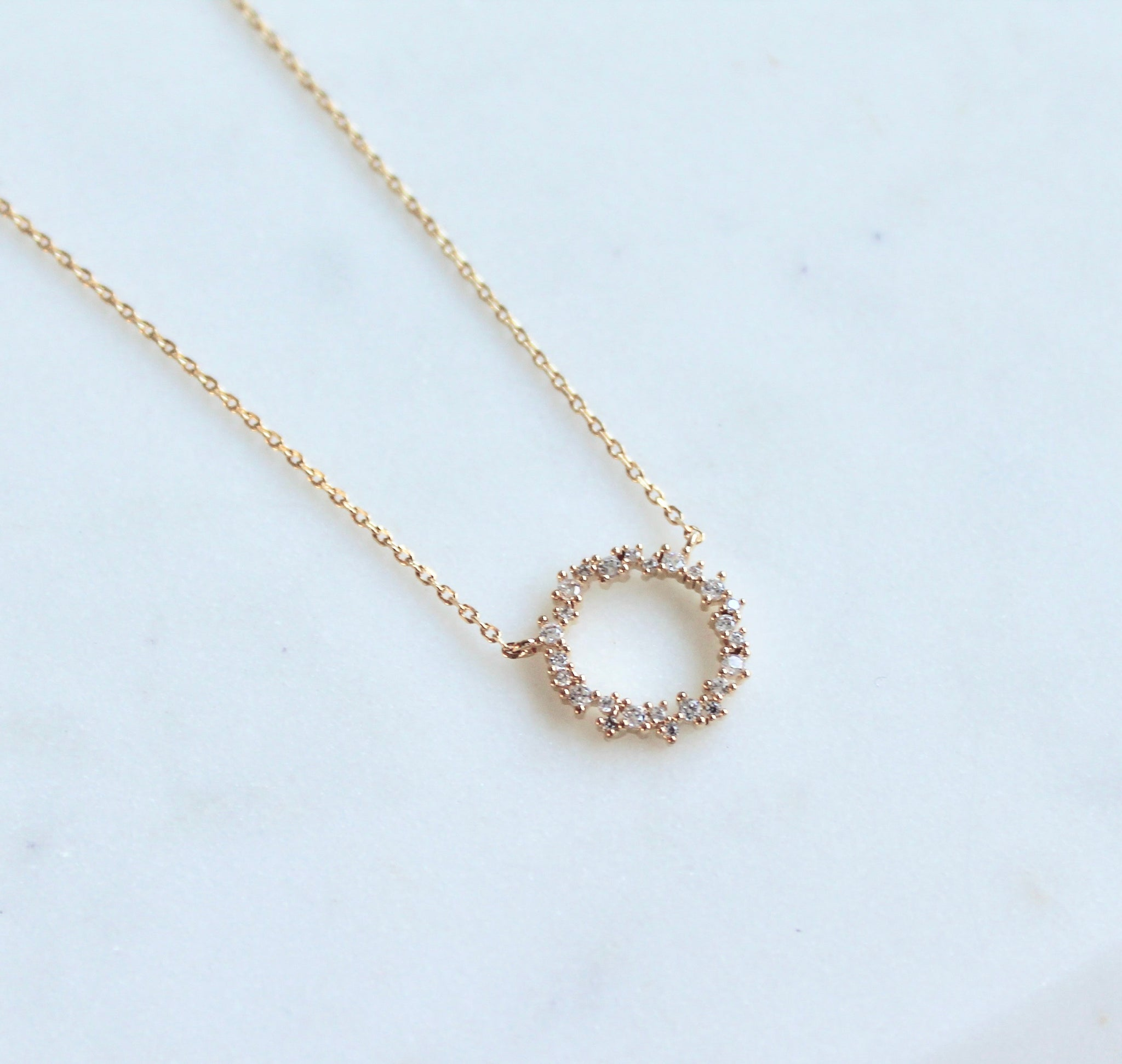 CZ circle necklace - Lily Lough Jewelry