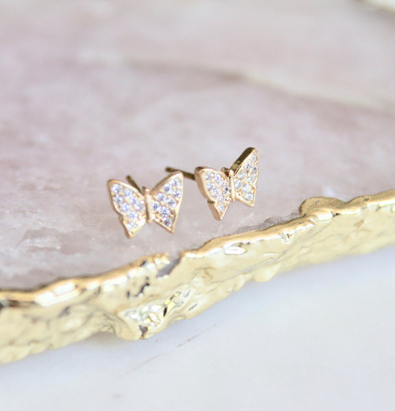 Tiny cz butterfly studs - Lily Lough Jewelry