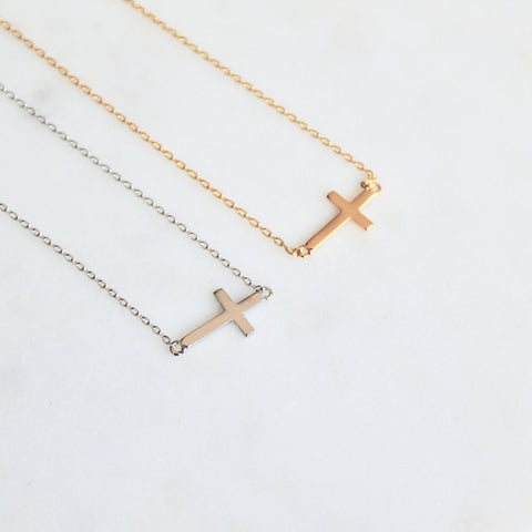 Side cross dainty necklace - Lily Lough Jewelry