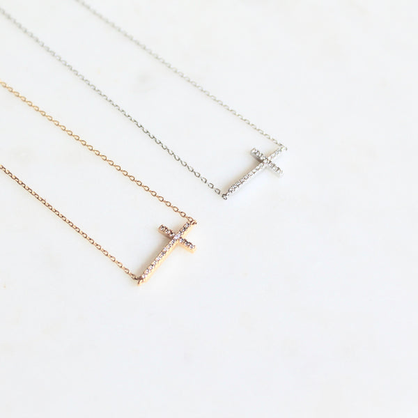 Side cross cz dainty necklace - Lily Lough Jewelry