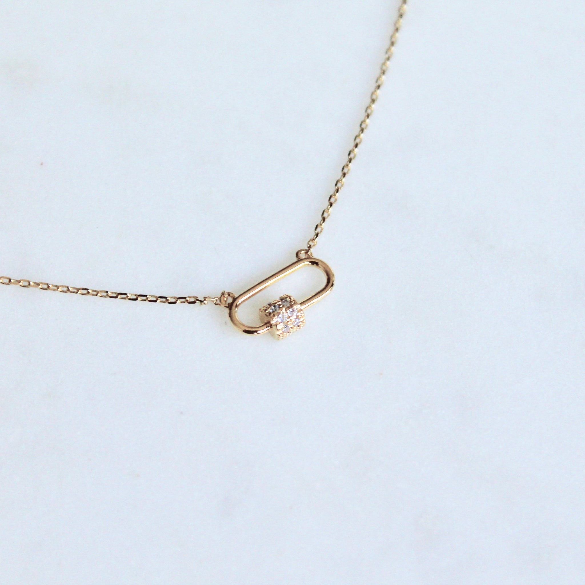 Carabiner lock dainty necklace - Lily Lough Jewelry