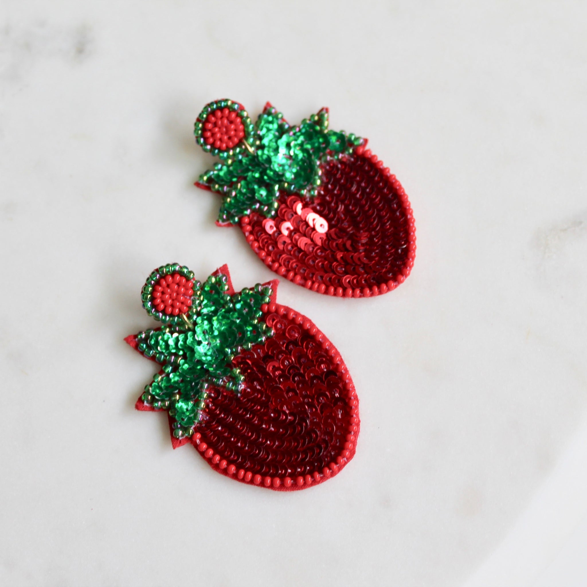 Strawberry sequin beaded earrings - Lily Lough Jewelry