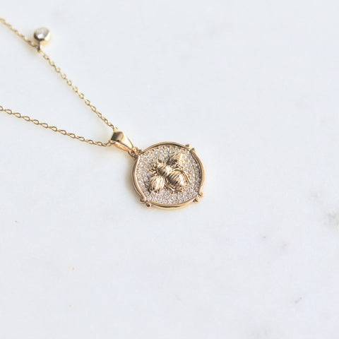 Bee coin sterling silver necklace