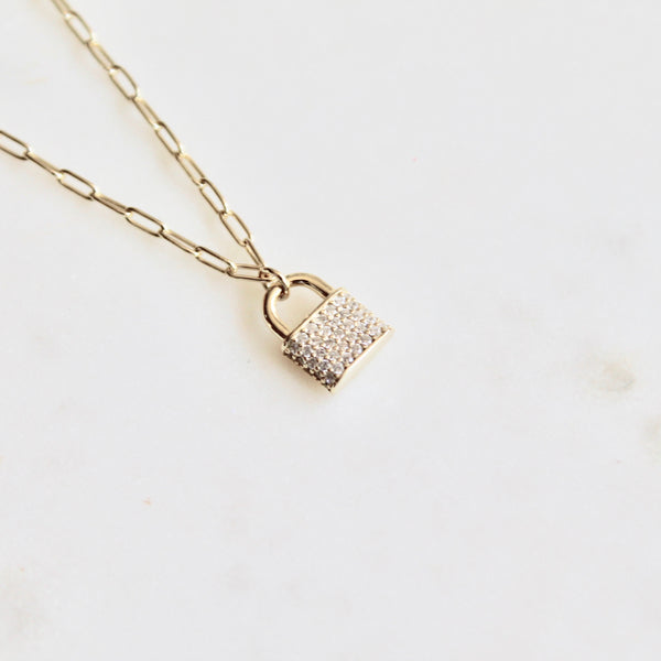 CZ Sterling  silver lock necklace