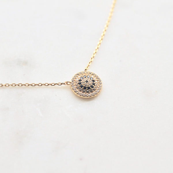 Evil eye circle sterling silver necklace - Lily Lough Jewelry