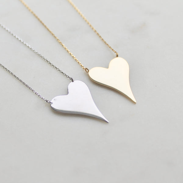 Large size heart sterling silver necklace - Lily Lough Jewelry