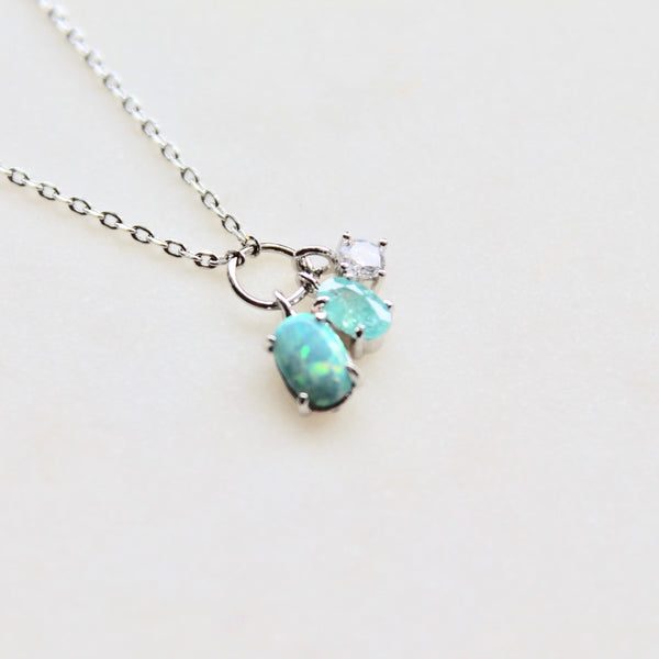 Mini opal pendants dainty necklace - Lily Lough Jewelry