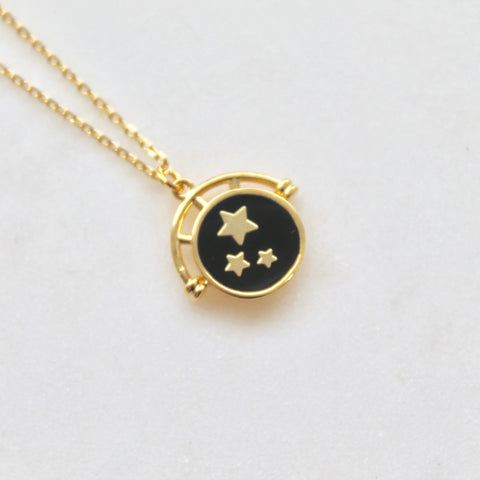 Globe star disc pendant necklace - Lily Lough Jewelry