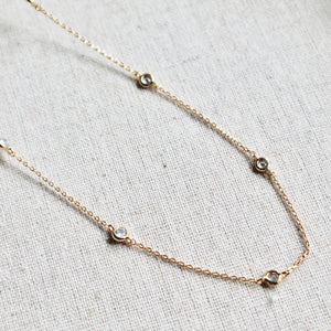 Bezel cz stones necklace - Lily Lough Jewelry