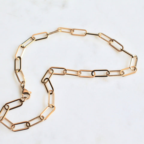 Paper clip gold plated stainless steel necklace - Lily Lough Jewelry
