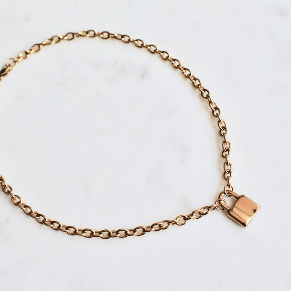 Gold plated stainless steel padlock necklace - Lily Lough Jewelry