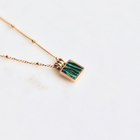 Malachite gold plated stainless steel pendant necklace - Lily Lough Jewelry